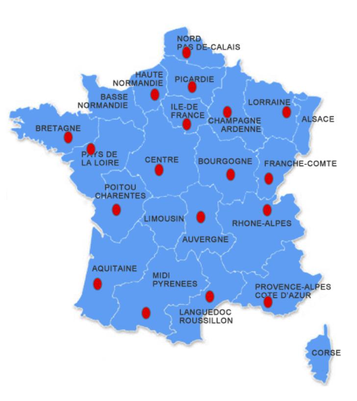 Cartes contacts EH en France